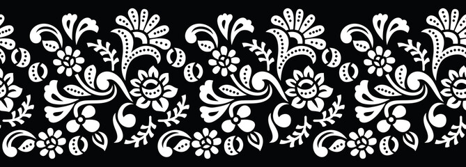 Seamless black and white tribal floral border