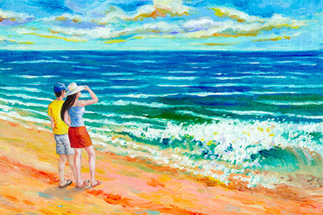 Oil color paintings seascape of beauty beach.