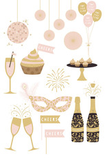 New Years Party Cliparts. New Years Eve Cliparts in Vector