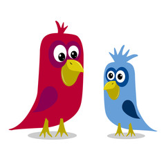 Stock Illustration Two Cartoon Birds