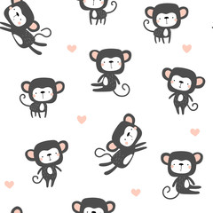 Seamless background with cute monkeys