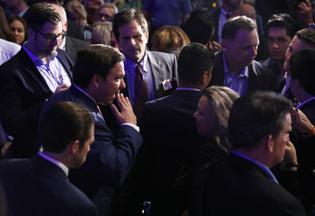 Republican gubernatorial candidate Ron DeSantis speaks to supporters at his midterm election night party in Orlando
