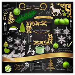 Set of Christmas elements and decorations on a black background
