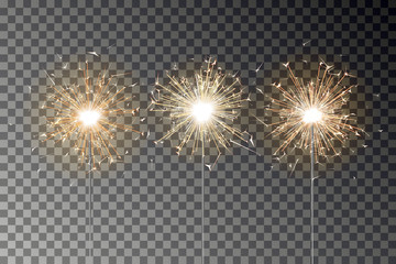 Bengal fire sparkle vector set. New year sparkler candle isolated on transparent background. Realist