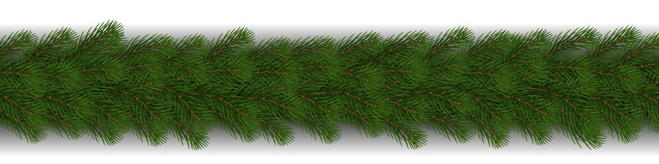 Green Christmas border of pine branch with shadow vector isolated on white background. Xmas garland