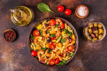Fusili pasta salad with shrimps.