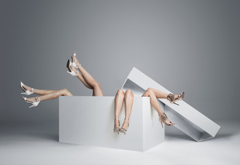 Poster Artist KB Conceptual photo of women's legs in the huge gift box