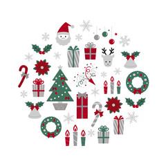 クリスマス アイテム 円形 / vector eps 10