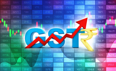 3d Illustration GST Tax India Concept in stock market background