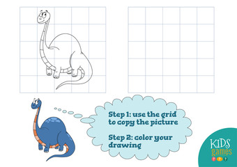 Copy and color picture vector illustration, exercise. Funny dinosaur cartoon character