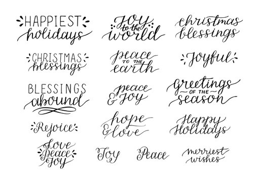 Collection with 16 Holiday Christmas hand lettering quotes