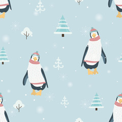 New Year Christmas winter season seamless pattern. Cute penguin cartoon character wearing warm clothing. Funny posture. Blue background with xmas trees, snowflakes, snow. Vector design illustration.