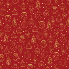 Hand drawn Merry Christmas and Happy New Year doodle gold and red  seamless pattern