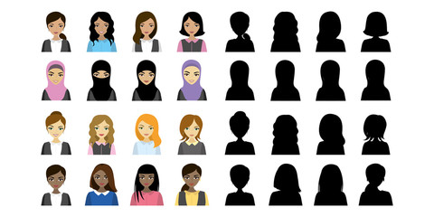 Multi Ethnic Female avatars and black silhouette