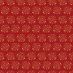 Hand drawn Merry Christmas and Happy New Year doodle gold and red  seamless pattern with Holly berry leaves