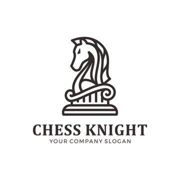 Chess knight logo, horse logo