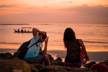 Capturing the local Balinese beauty during the sunset
