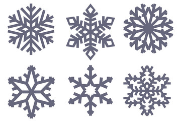 Snowflakes. Black flat symbols