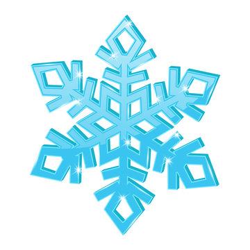 Blue snowflake. 3d symbol