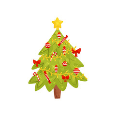 Flat vector icon of Christmas tree. Home decor element for winter holidays. Design for children book, postcard or mobile game