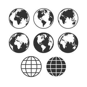 Vector world map icons. Globe icons. Set of vector globe earth i