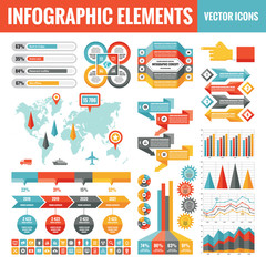 Infographic elements template collection - business vector Illustration in flat design style for presentation, booklet, website etc. Big set of Infograph and icons. Abstract graphic concept banners.