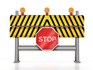 Road block with stop sign isolated on white background. 3D illustration