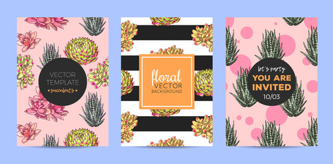 The collection of illustrations with beautiful succulents decoration. Vector floral set. Botanical and abstract geometric background template.
