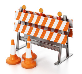 Road block with traffic cones isolated on white background. 3D illustration