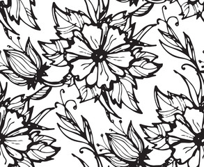 Hand drawn floral pattern with flowers and leaves