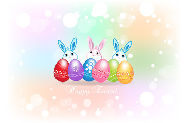 Happy Easter greetings card with eggs in colorful background.