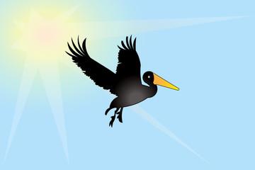 Pelican bird icon logo id card vector