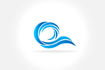 Waves beach icon logo vector design
