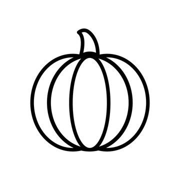 Vegetable collection - pumpkin. Line icon of big whole pumpkin. Vector Illustration