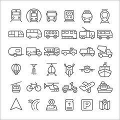 Transport icons simple and thin line design.Contains such Icons as Bus, Bike, Scooter, Car, balloon,Truck, Tram, Airplane and more. customize color, stroke width control , easy resize.