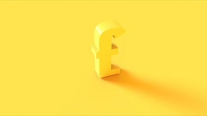 Bright Yellow Pound Sign 3d illustration 3d render