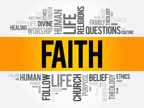 Faith word cloud collage , social concept background