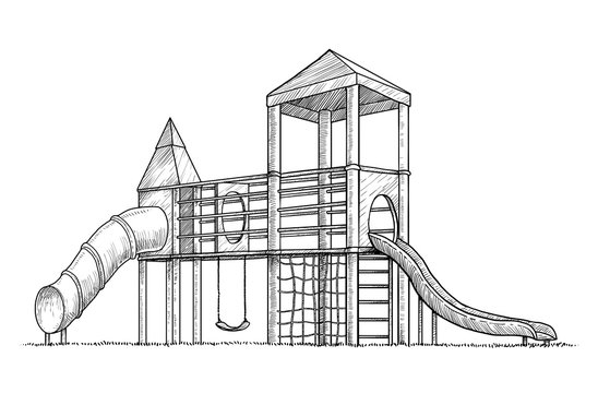 Playground illustration, drawing, engraving, ink, line art, vector