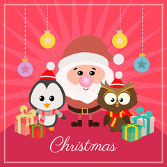 flat style christmas card with gift box and penguin owl santa