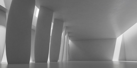 Abstract of concrete architecture space with rhythm of column and sun light cast shadow on the wall. 3D rendering
