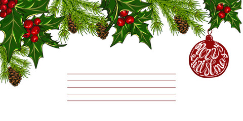 Christmas card with christmas trees, pine cones and holly