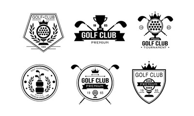 Golf club premium logo, golfing sport club retro badges, sport tournament or competition labels vector Illustration on a white background