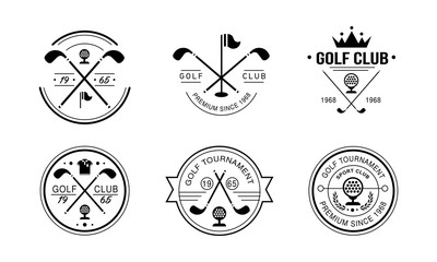 Golf club premium since 1968 logo, golfing club retro badges, sport tournament or competition vintage labels vector Illustration on a white background