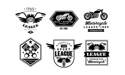 Vintage premium motorcycle league logo set, retro badges for biker club, motorcycle parts store, repair service vector Illustration on a white background