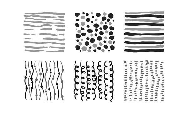 monochrome abstract patterns set, black, gray, white irregular design elements