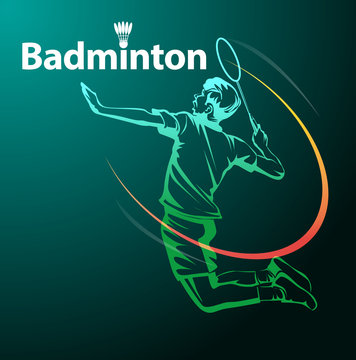 Vector illustration, badminton player in action as a symbol badminton event