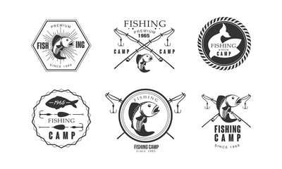 Fishing premium camp since 1965 logo design, wildlife, travel, adventure retro labels vector Illustration on a white background