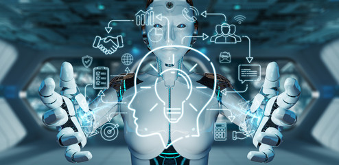 White humanoid creating artificial intelligence interface