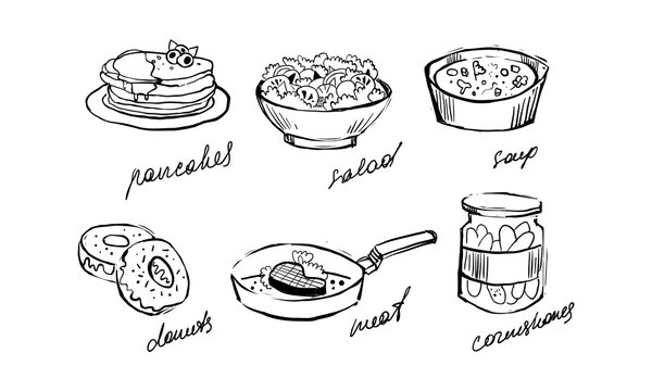 Traditional food set, pancakes, salad, soup, donuts, meat, cornichons hand drawn vector Illustration on a white background