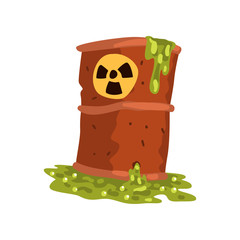 Rusty flowing barrel of nuclear waste, ecological problem, environmental pollution concept, vector Illustration on a white background